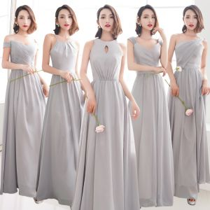 Affordable Grey Chiffon Bridesmaid Dresses 2019 A-Line / Princess Floor-Length / Long Ruffle Backless Wedding Party Dresses
