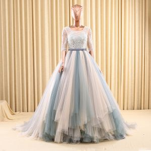 Chic / Belle Robe De Bal 2017 1/2 Manches Perlage Volants Tulle Ceinture Dos Nu Chapel Train Robe De Ceremonie