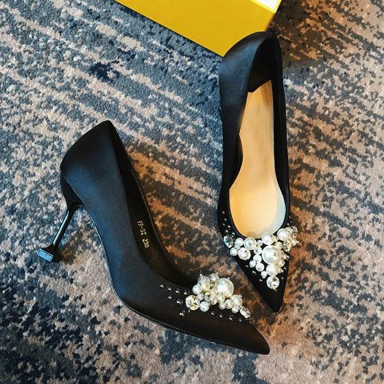 Hermoso Negro 8 cm / 3 inch High Heels 2018 Rebordear Perla Punta Estrecha Noche Fiesta Zapatos De Mujer