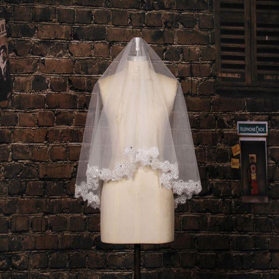 Ślubne Bardzo Długie Cekinami Aplikacje Koronki Material Welon