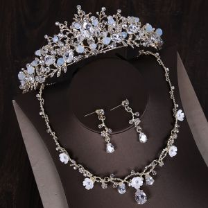 Chic / Beautiful Silver Tiara Earrings Flower Necklace Bridal Jewelry 2019 Metal Crystal Rhinestone Wedding Accessories
