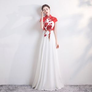 Chinese style Red White Chiffon Cheongsam / Qipao 2020 A-Line / Princess High Neck Cap Sleeves Appliques Embroidered Floor-Length / Long Formal Dresses