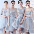 Piękne Błękitne Sukienki Dla Druhen 2017 Princessa Z Koronki Kwiat Bez Pleców Krótkie Na Wesele Sukienki Na Wesele