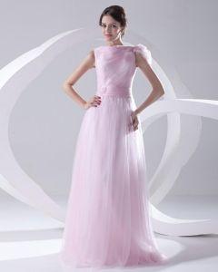 Mode Organza Geplooide Applique Boothals Mouwloze Vloer Lengte Galajurken