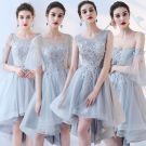 Chic / Beautiful Sky Blue Bridesmaid Dresses 2017 A-Line / Princess Lace Flower Backless Short Bridesmaid Wedding Party Dresses