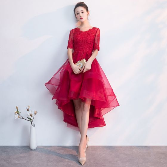 Charming Burgundy Party Dresses 2019 A-Line / Princess Scoop Neck 1/2 Sleeves Lace Flower Asymmetrical Formal Dresses