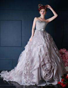 2015 Charming Sweetheart Beading Sequins Grey Prom Dresses