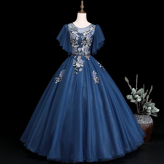 Elegant Navy Blue Prom Dresses 2019 Ball Gown Scoop Neck Short Sleeve Appliques Lace Flower Sash Floor-Length / Long Ruffle Backless Formal Dresses