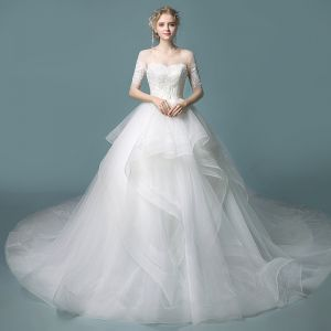 Affordable Ivory See-through Wedding Dresses 2019 Ball Gown Scoop Neck 1/2 Sleeves Backless Appliques Lace Chapel Train Cascading Ruffles