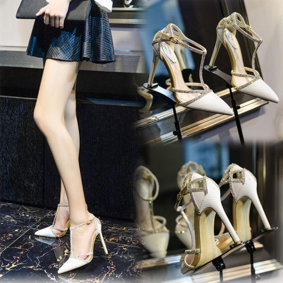 Luksusowe 2017 Białe Wieczorowe Faux Skóra Rhinestone Wysokie Obcasy Szpilki 10 cm / 4 inch Czółenka