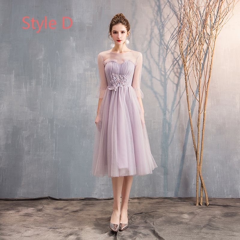 Affordable Blushing Pink Bridesmaid Dresses 2019 A-Line / Princess Appliques Lace Beading Tea-length Ruffle Backless Wedding Party Dresses