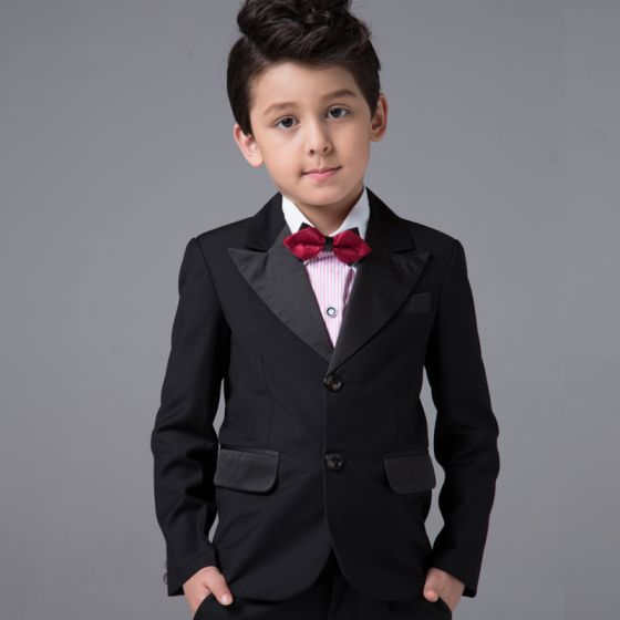 Modest / Simple Boys Wedding Suits Long Sleeve Black 2017