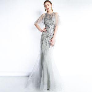 Luxury / Gorgeous Grey See-through Evening Dresses  2019 Trumpet / Mermaid Scoop Neck 1/2 Sleeves Sequins Beading Floor-Length / Long Ruffle Formal Dresses