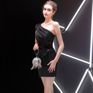 Sexy Schwarz Abendkleider 2019 One-Shoulder Pailletten Kurze Rückenfreies Ärmellos Festliche Kleider