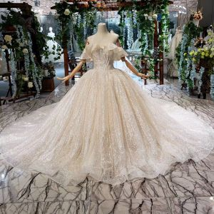 Chic / Beautiful Champagne Ball Gown Wedding Dresses 2020 Off-The-Shoulder Crossed Straps Sleeveless Handmade  Backless Beading Sequins Cathedral Train Wedding
