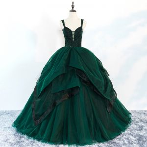 Chic / Beautiful Dark Green Prom Dresses 2018 Ball Gown Beading Cascading Ruffles Spaghetti Straps Backless Sleeveless Floor-Length / Long Formal Dresses
