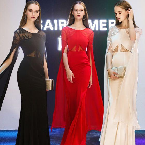 Stylowe / Modne Sukienki Wieczorowe 2019 Syrena / Rozkloszowane Wycięciem Długie Rękawy Długie Wzburzyć Bez Pleców Sukienki Wizytowe