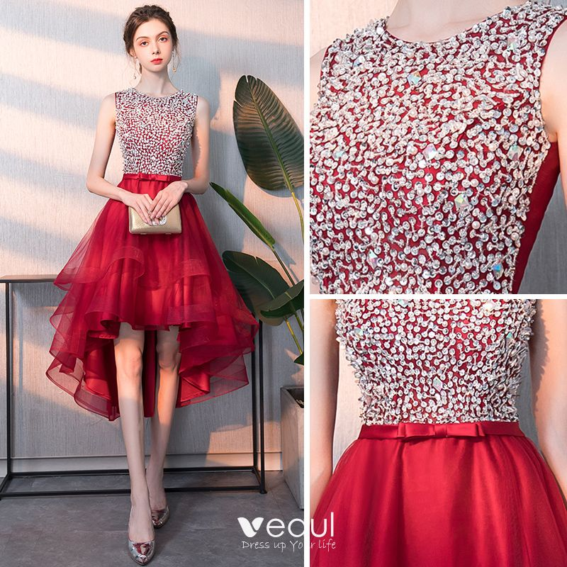 Affordable Red Cocktail Dresses 2018 A-Line / Princess Scoop Neck Sleeveless Beading Sequins Bow Sash Asymmetrical Ruffle Formal Dresses