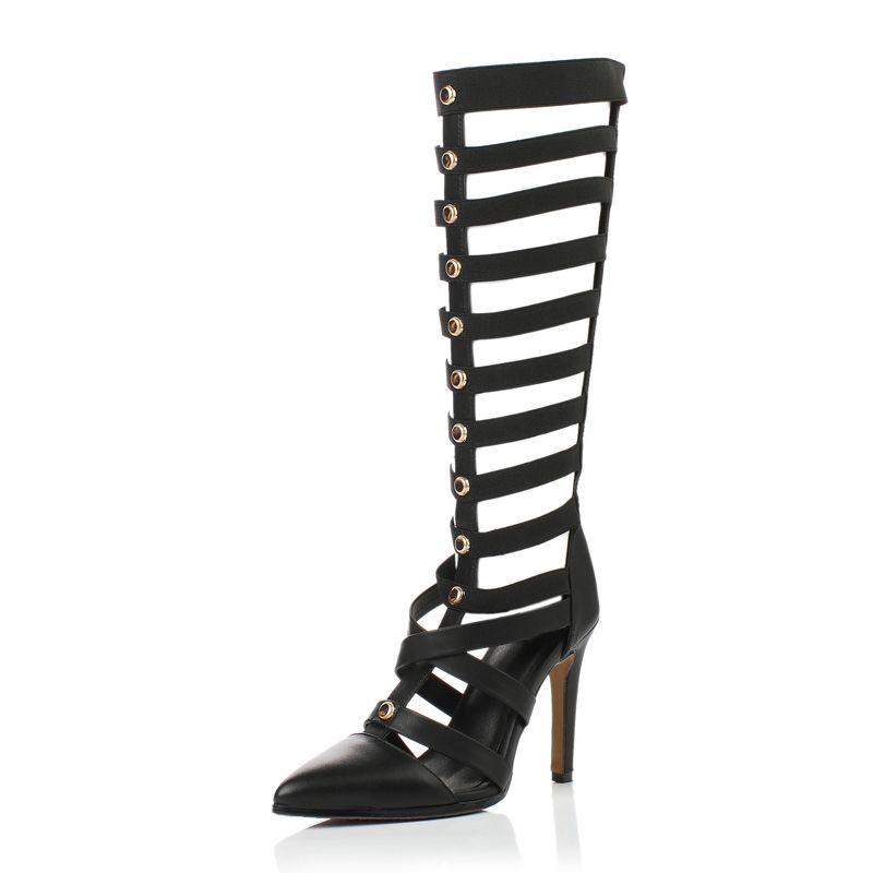 Amazing / Unique Black Casual Womens Boots 2017 Leather Metal Strappy High Heel Pointed Toe Boots