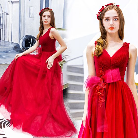 Chic / Beautiful Red Prom Dresses 2019 A-Line / Princess V-Neck Beading Lace Flower Bow Sleeveless Backless Floor-Length / Long Formal Dresses