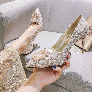 Charmant Champagne Chaussure De Mariée 2020 Perle Faux Diamant En Dentelle Fleur 8 cm Talons Aiguilles À Bout Pointu Mariage Escarpins