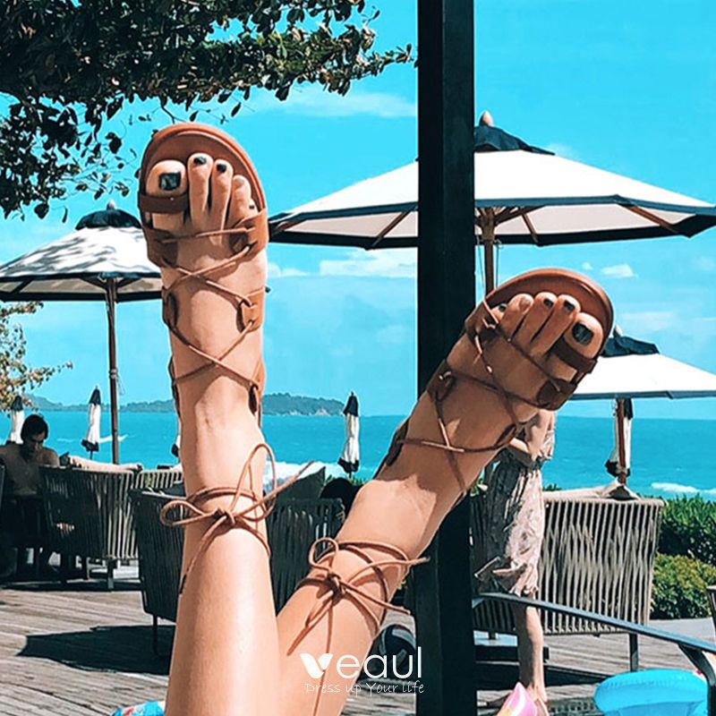 Bohemia Modern / Fashion Brown Outdoor / Garden Womens Sandals Beach Summer Strappy X-Strap Flat Womens Shoes 2019