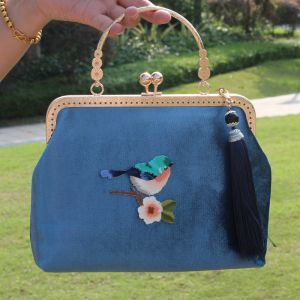 Chinese style Ocean Blue Embroidered Square Clutch Bags 2020 Metal Tassel