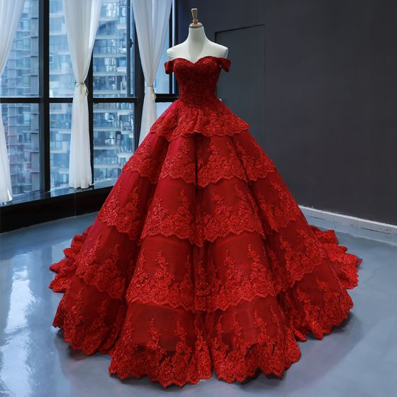 Luxury / Gorgeous Red Bridal Wedding Dresses 2020 Ball Gown Off-The-Shoulder Short Sleeve Backless Appliques Lace Chapel Train Cascading Ruffles