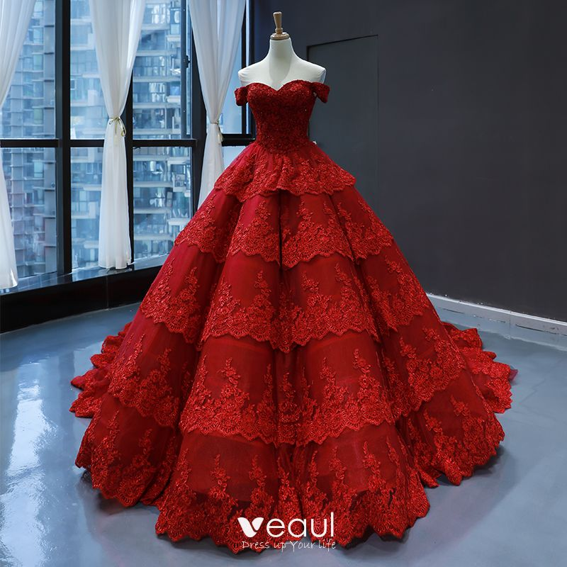 Luxury Gorgeous Red Bridal Wedding Dresses 2020 Ball Gown Off