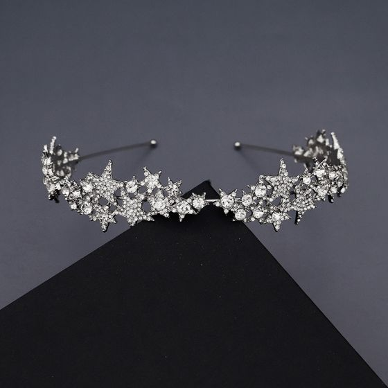 Chic / Beautiful Silver Rhinestone Star Hair Hoop Bridal Hair Accessories 2020 Metal Headpieces Wedding Accessories