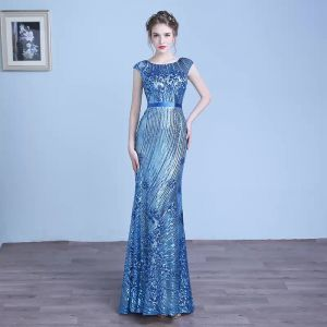 Sparkly Ocean Blue Evening Dresses  2018 Trumpet / Mermaid Lace Sequins Sash Scoop Neck Short Sleeve Floor-Length / Long Formal Dresses