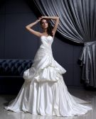 Sleeveless Satin Applique Ruffles Sweetheart Chapel Train A-Line Wedding Dress