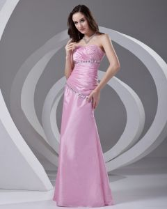Sweetheart Pleated Beading Floor Length Taffeta Woman Evening Dress