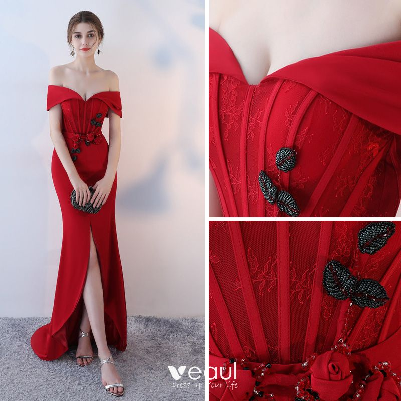 Elegant Burgundy Evening Dresses  2018 Trumpet / Mermaid Off-The-Shoulder Short Sleeve Pearl Crystal Beading Sash Split Front Sweep Train Backless Formal Dresses