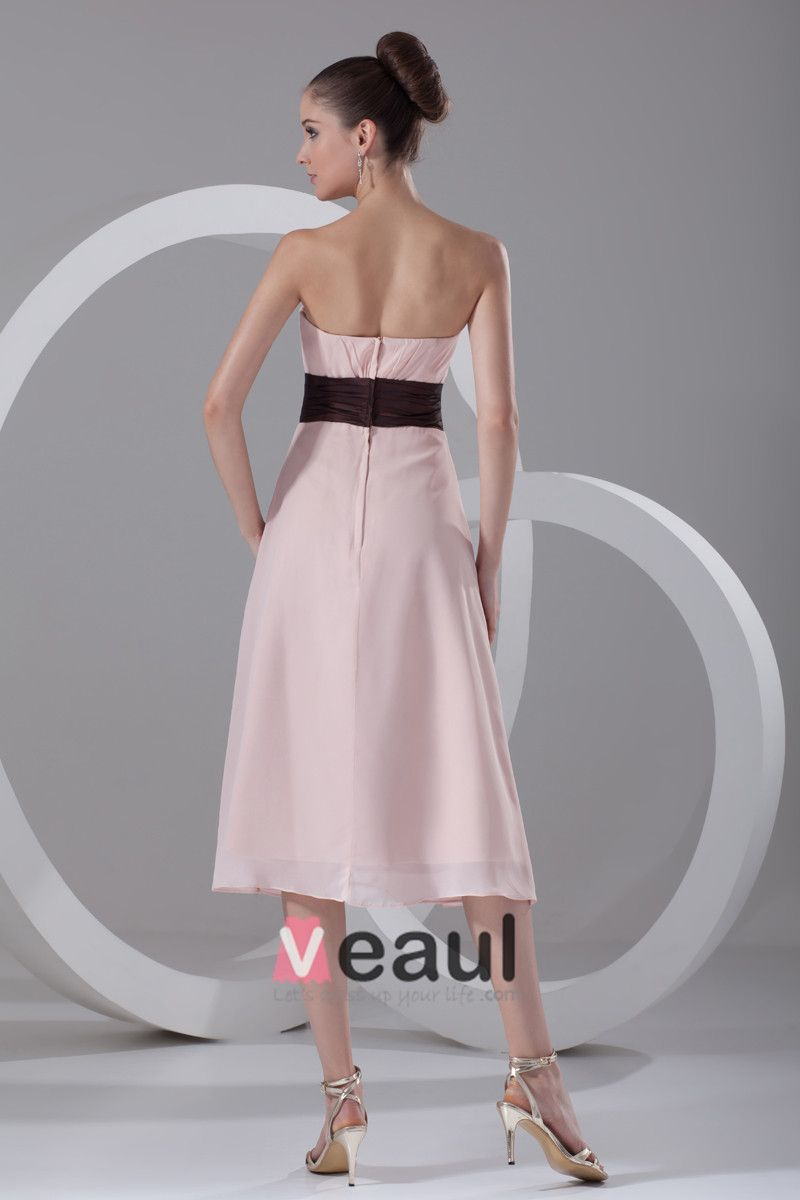 Chiffon Ruffle Strapless Tea Length Bridesmaid Dress