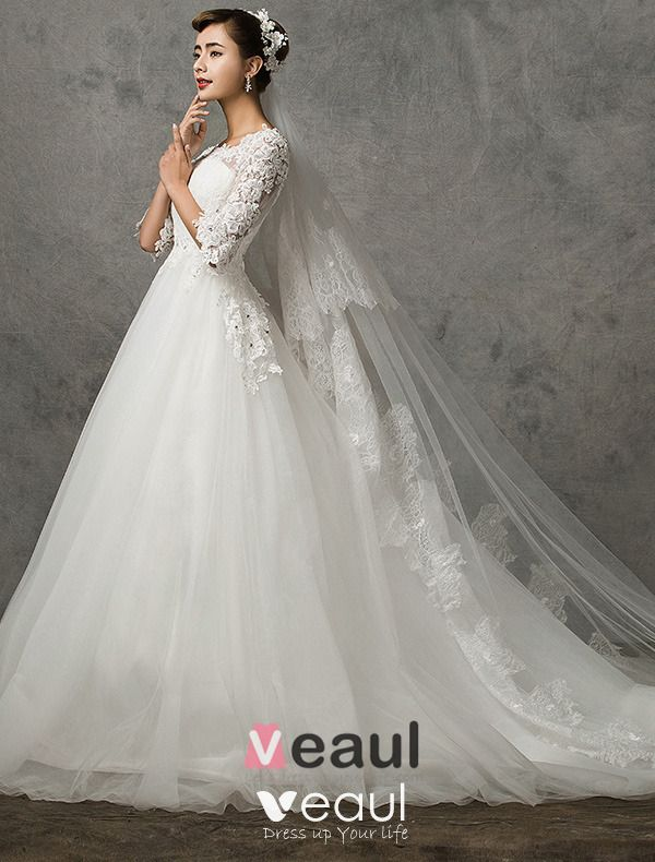 2015 A-line Princess Shoulders 1/2 Sleeves Embroidered Wedding Dress