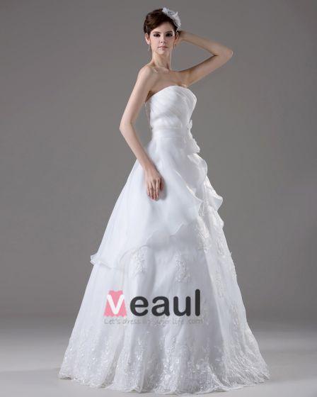 Vestido De Novia Vestido De Hilo De Bola Hasta El Suelo Con Pliegues Abalorios Bordados Sin Tirantes