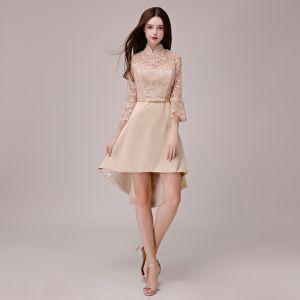 Piękne Homecoming Khaki Sukienki Na Studniówke 2018 Princessa Kokarda Z Koronki Asymetryczny Wysokiej Szyi 3/4 Rękawy Sukienki Wizytowe
