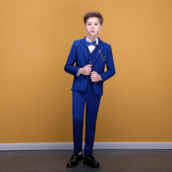 Fashion Royal Blue Striped Boys Wedding Suits 2020