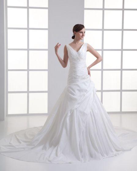 Taffeta Beading Ruffle V Neck Court Train Mermaid Wedding Dress
