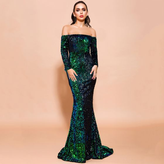 Sparkly Dark Green Sequins Evening Dresses  2020 Trumpet / Mermaid Off-The-Shoulder Long Sleeve Sweep Train Backless Formal Dresses