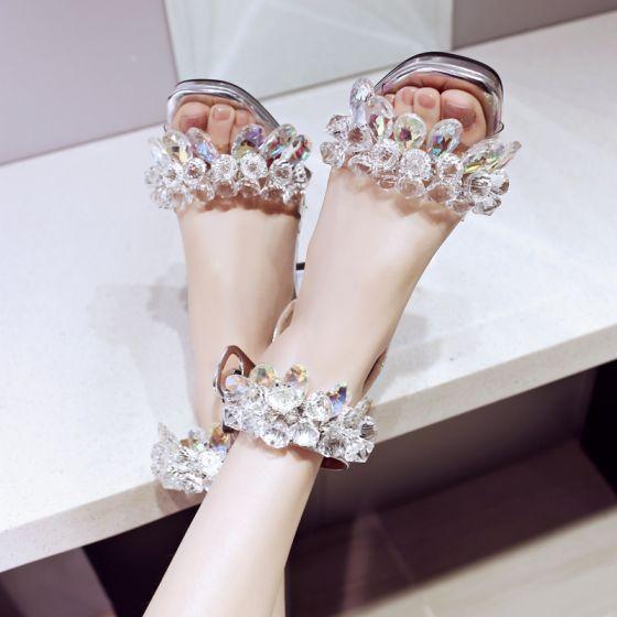 Flotte Sølv Casual Krystal Sandaler Dame 2019 Læder Rhinestone Ankel Strop 7 cm Tykke Hæle Peep Toe Højhælede Sandaler