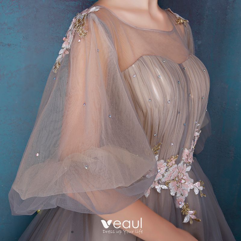Chic / Beautiful Prom Formal Dresses 2017 Prom Dresses Grey Ball Gown Floor-Length / Long 1/2 Sleeves Scoop Neck Backless Sequins Lace Appliques Rhinestone