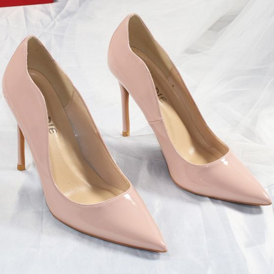 Chic / Beautiful Nude Street Wear Pumps 2020 Patent Leather 10 cm Stiletto Heels Pointed Toe Pumps