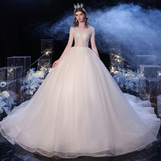 Fashion Champagne Bridal Wedding Dresses 2020 Ball Gown V-Neck Short Sleeve Beading Pearl Glitter Tulle Cathedral Train Ruffle