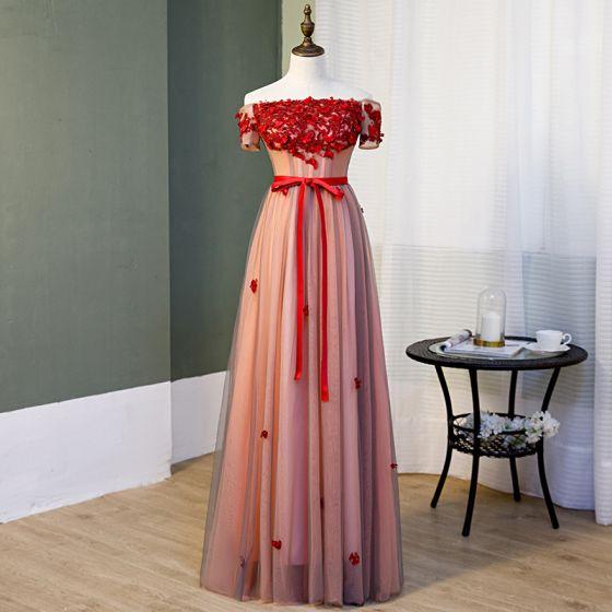 Uroczy Rumieniąc Różowy Sukienki Wieczorowe 2019 Princessa Przy Ramieniu Kryształ Z Koronki Kwiat Aplikacje Kótkie Rękawy Bez Pleców Kokarda Długie Sukienki Wizytowe