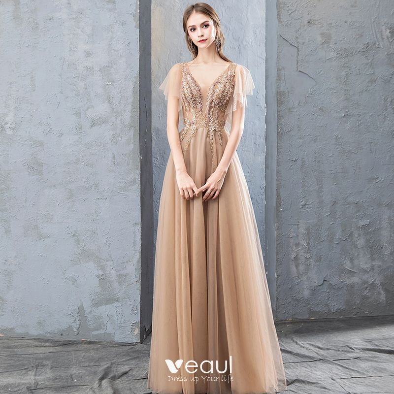 d709e36c028c Elegantes Champán Vestidos de noche 2019 A-Line / Princess Con ...