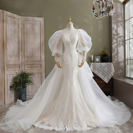 Luksusowe Kość Słoniowa Syrena / Rozkloszowane Suknie Ślubne 2021 V-Szyja Frezowanie Perła Z Koronki Kwiat Długie Rękawy Bez Pleców Trenem Katedra Ślub