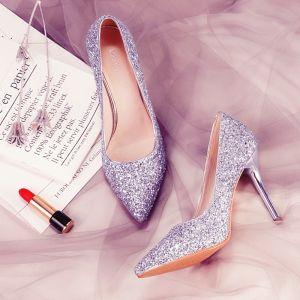Glitter Zilveren Bruidsschoenen 2018 Leer Pailletten 7 cm Naaldhakken / Stiletto Spitse Neus Huwelijk Hoge Hakken
