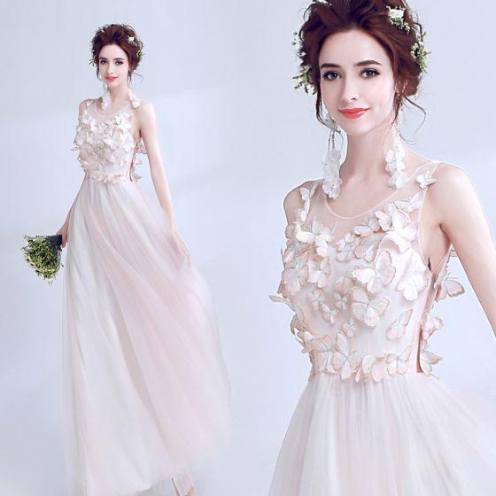 Mode Rosa Durchsichtige Sommer Abendkleider 2018 A Linie Rundhalsausschnitt Ärmellos Applikationen Schmetterling Lange Rüschen Festliche Kleider